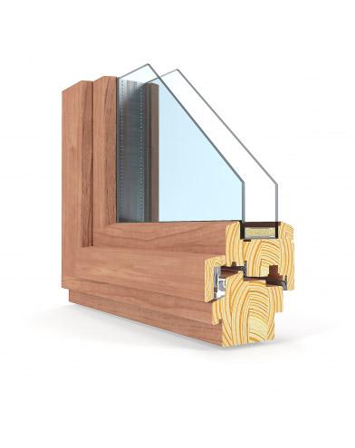 Modellansicht - Querschnitt eines Holzfensters mit einer Einbautiefe von 92mm