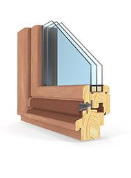 Modellansicht - Querschnitt eines Holzfensters mit einer Einbautiefe von 78mm
